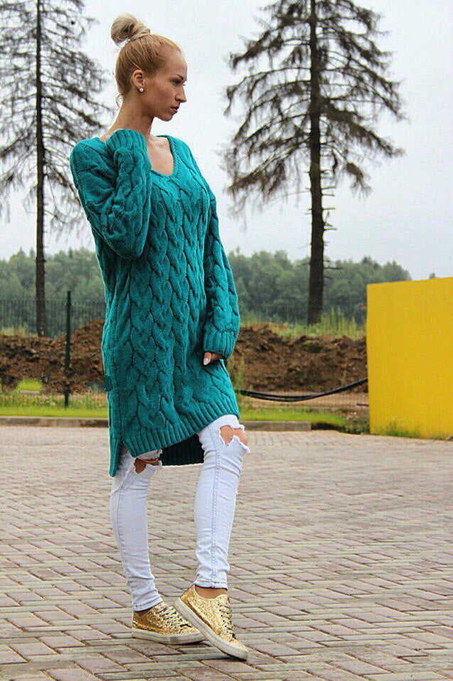 Fashion Dip Hem Braid Knitting Long Sweater - Oh Yours Fashion - 7