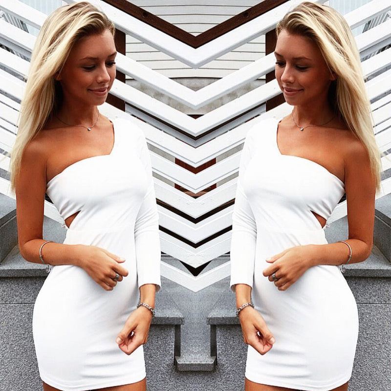 White Long Sleeve Wrapped One Shoulder Bodycon Dress - Oh Yours Fashion - 3