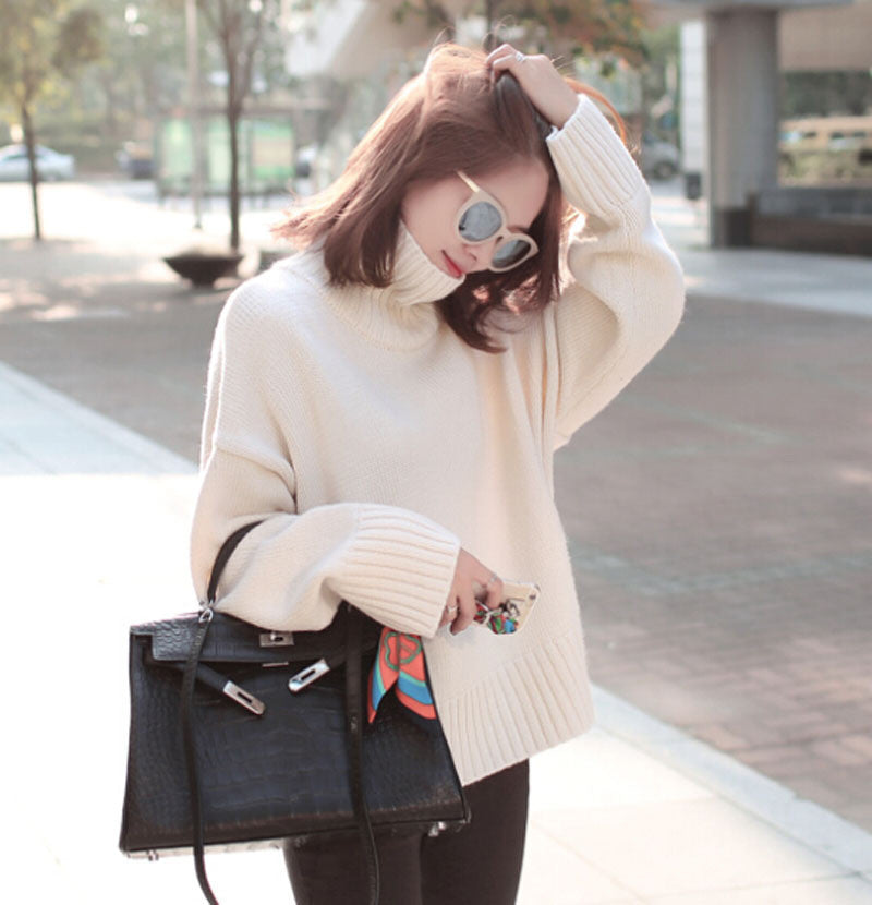 Casual Loose Style Pure Color Knitting Sweater - Oh Yours Fashion - 3