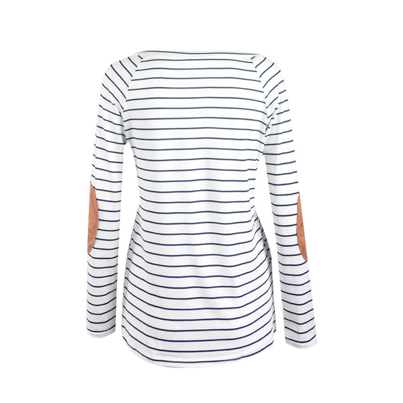 Fashion Stripe Print V Neck Long Sleeve Blouse - Oh Yours Fashion - 5