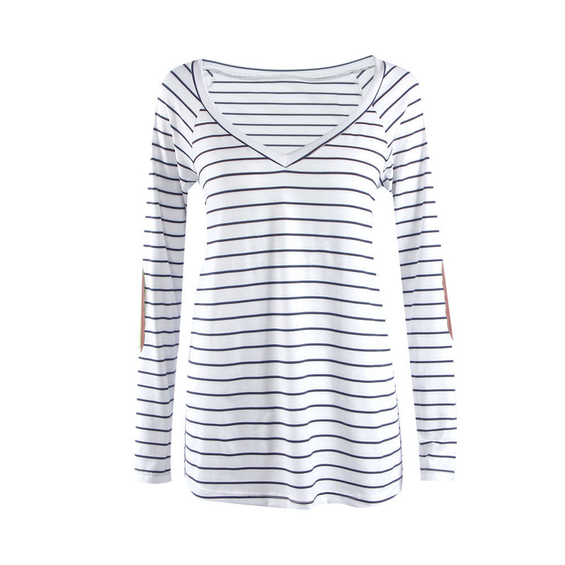 Fashion Stripe Print V Neck Long Sleeve Blouse - Oh Yours Fashion - 4