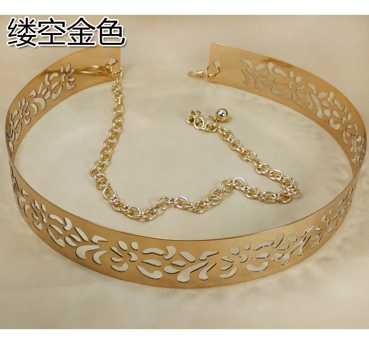 Golden Wide Plate Mirror Waistband Metal Waist Belt
