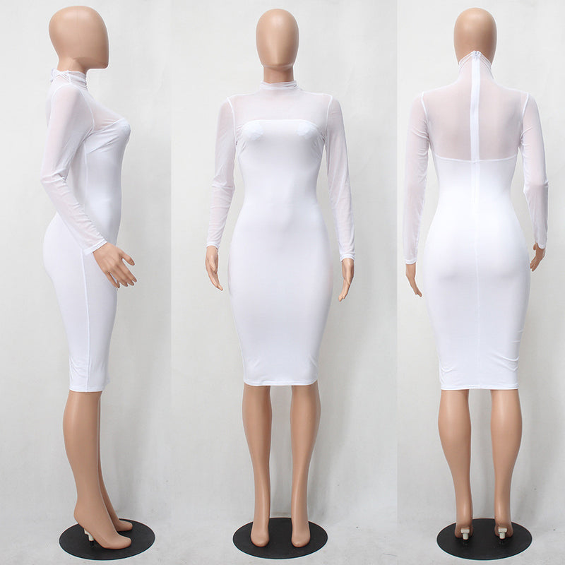 Sexy Long-Sleeved Perspective Bodycon Knee-length Dress - Oh Yours Fashion - 6