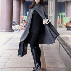 High Neck Long Sleeves Hooded Wool Cloak Coat - Oh Yours Fashion - 2