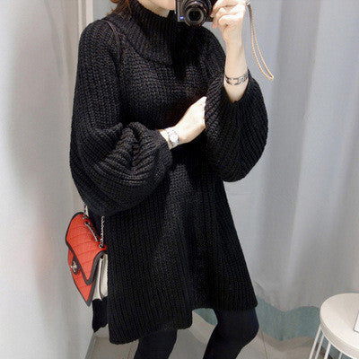 Loose Dip Hem Knit Long Sweater Dress - Oh Yours Fashion - 1