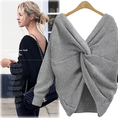 Sexy Wrap Style Long Sleeve Knitting Sweater - Oh Yours Fashion - 4