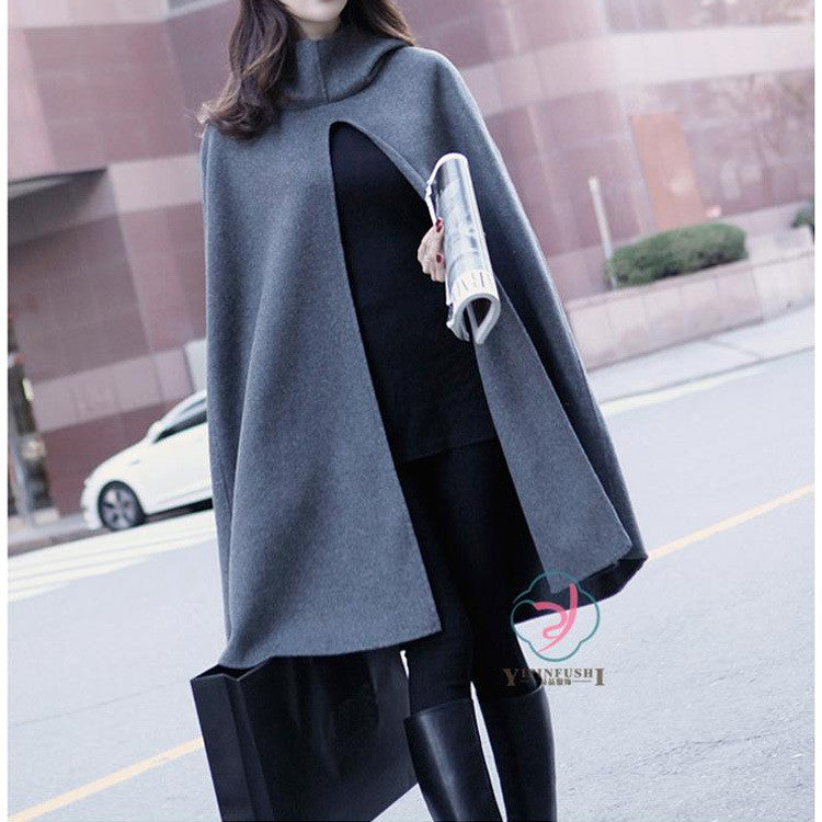 High Neck Long Sleeves Hooded Wool Cloak Coat - Oh Yours Fashion - 1