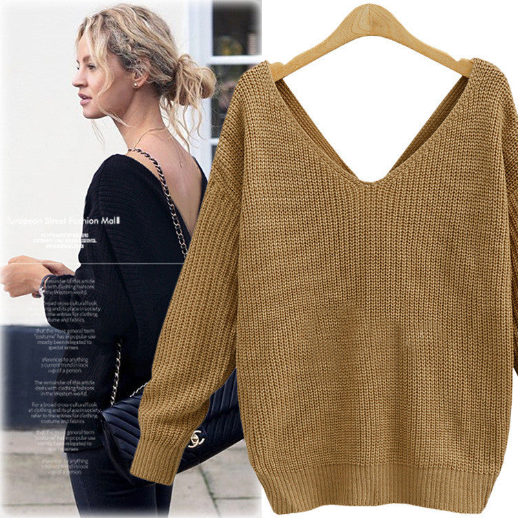 Sexy Wrap Style Long Sleeve Knitting Sweater - Oh Yours Fashion - 3