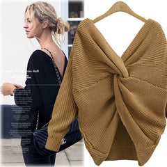 Sexy Wrap Style Long Sleeve Knitting Sweater - Oh Yours Fashion - 7