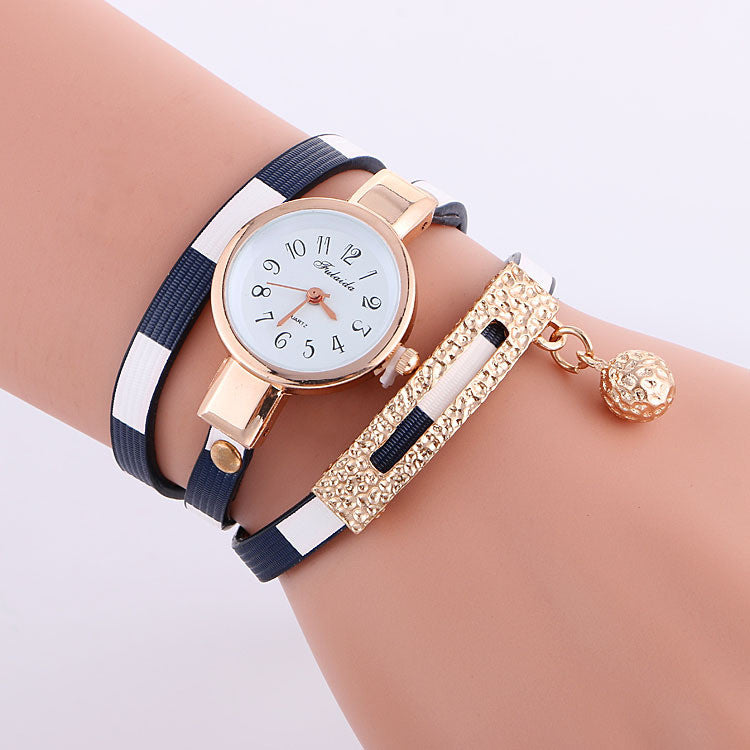 Stripe Strap Bead Pendant Watch - Oh Yours Fashion - 1
