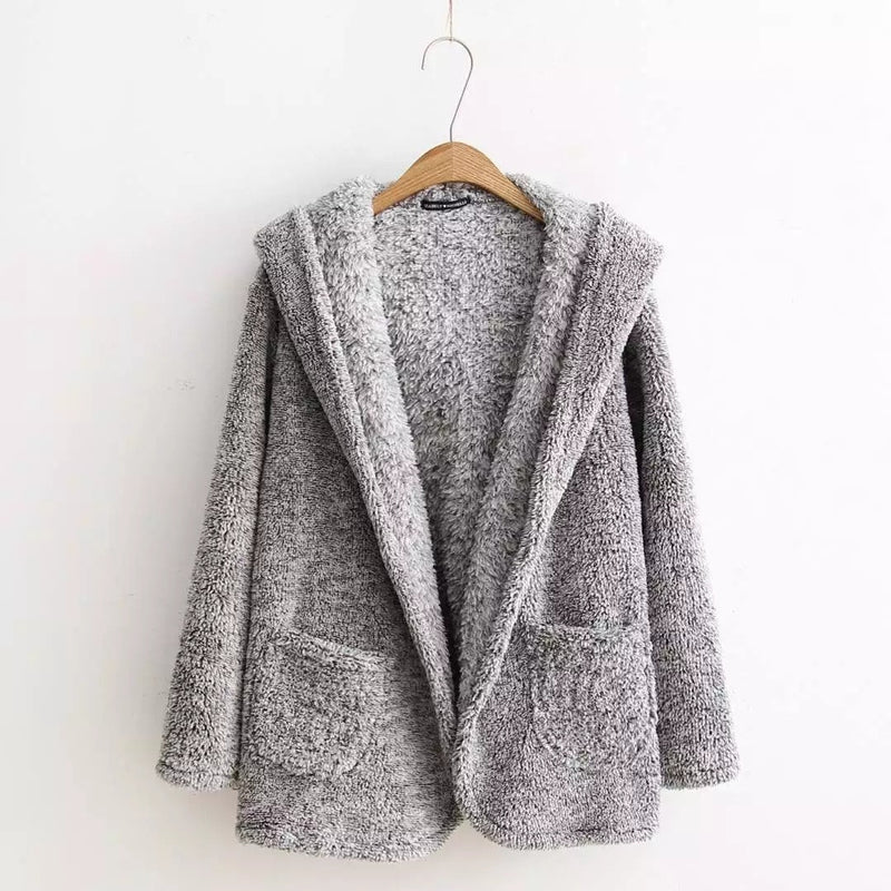 Fashion Hooded Pockets Gray Fur Cardigan - Oh Yours Fashion - 4
