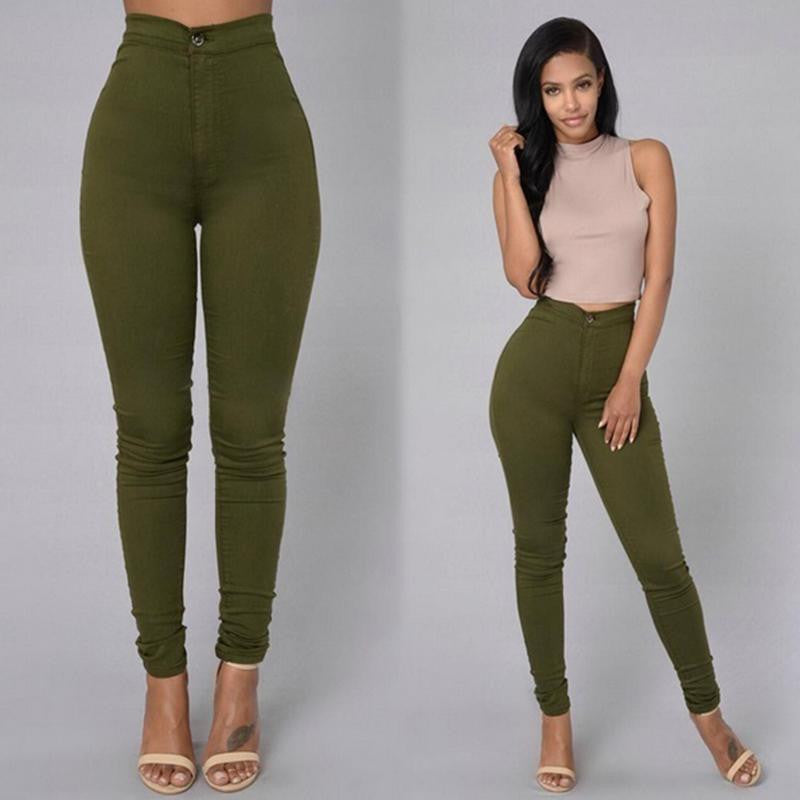 Candy Color High Waist Back Pockets Pencil Pants - Oh Yours Fashion - 3