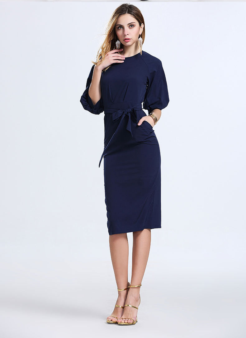 Royal Blue Office Knee-length Belt Dress - Oh Yours Fashion - 4