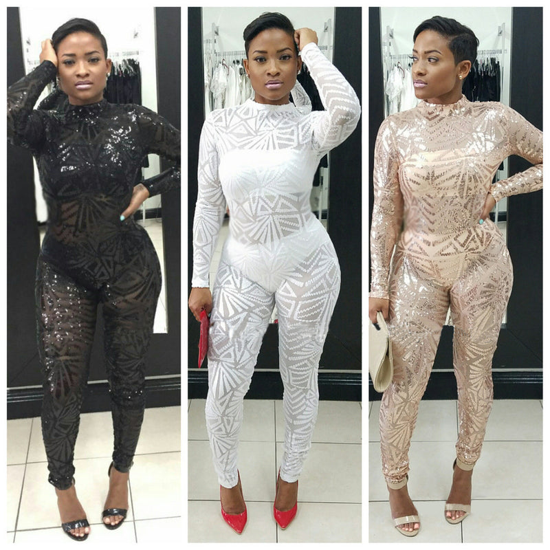 Sequins Long Sleeve High Neck See-Through Club Long Jumpsuit - Oh Yours Fashion - 3