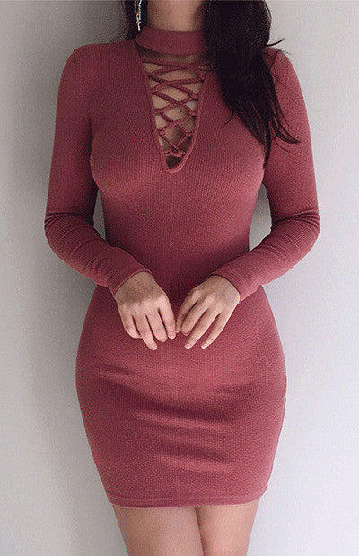 High Neck Criss Cross Long Sleeve Bodycon Short Dress - Oh Yours Fashion - 2