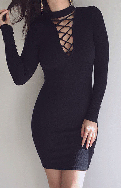 High Neck Criss Cross Long Sleeve Bodycon Short Dress - Oh Yours Fashion - 4