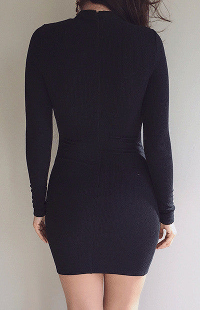High Neck Criss Cross Long Sleeve Bodycon Short Dress - Oh Yours Fashion - 5