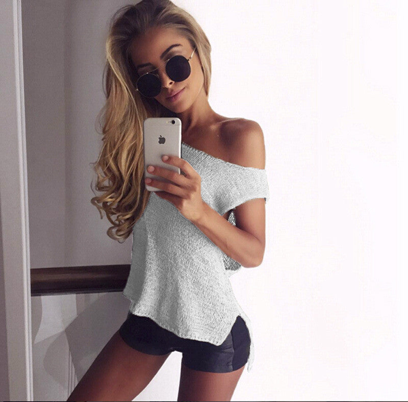 Sleeveless Round Collar Short Sexy Knitting Sweater Vest - Oh Yours Fashion - 1