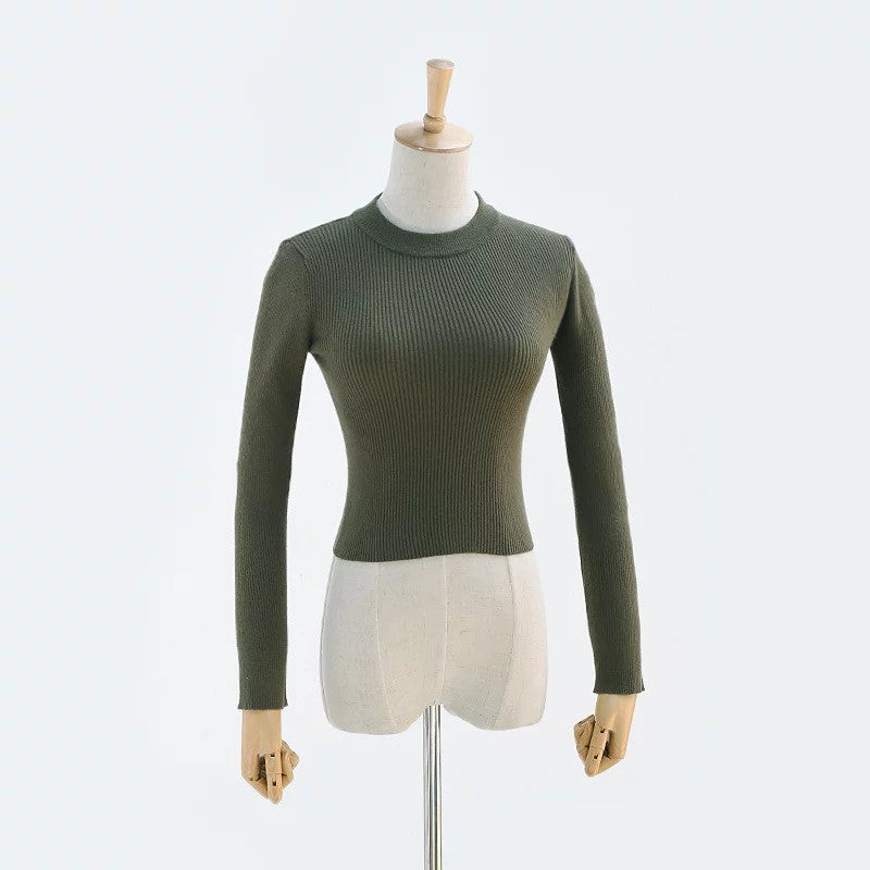 High Collar Pure Color Short Knit Sweater - Oh Yours Fashion - 9