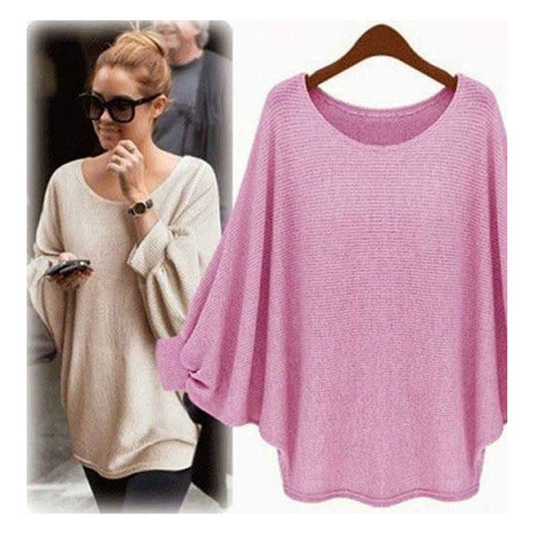 Fashion Batwing Sleeve Scoop Loose Candy Color Sweater - Oh Yours Fashion - 5