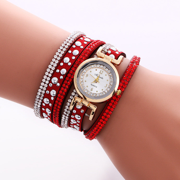Beautiful Crystal Snowflake Golden Dial Watch - Oh Yours Fashion - 1