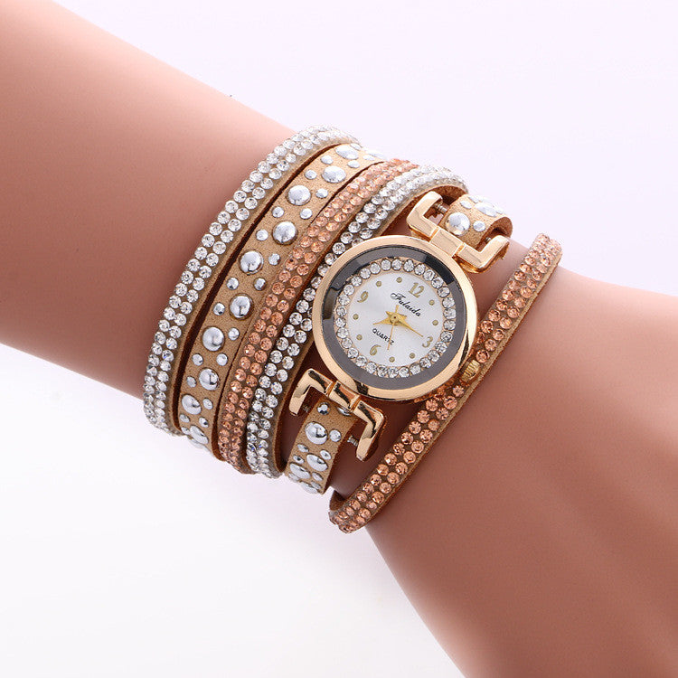Beautiful Crystal Snowflake Golden Dial Watch - Oh Yours Fashion - 5