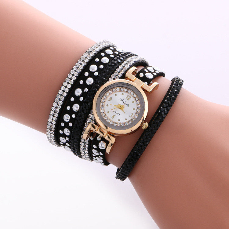 Beautiful Crystal Snowflake Golden Dial Watch - Oh Yours Fashion - 4