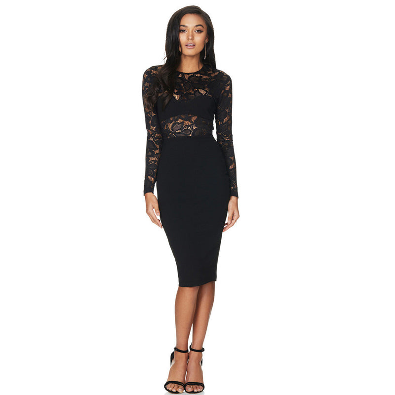 Sexy Lace Splicing Scoop Knee-length Dress - Oh Yours Fashion - 1