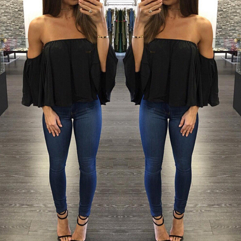Sexy Off Shoulder Long Sleeve Chiffon Loose Blouse - Oh Yours Fashion - 5