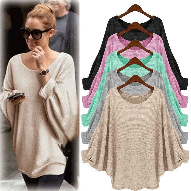Fashion Batwing Sleeve Scoop Loose Candy Color Sweater - Oh Yours Fashion - 1