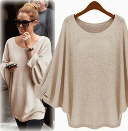 Fashion Batwing Sleeve Scoop Loose Candy Color Sweater - Oh Yours Fashion - 3