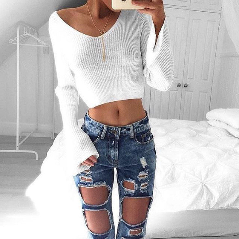 Sexy White Long Sleeve Crop Top Sweater - Oh Yours Fashion - 7