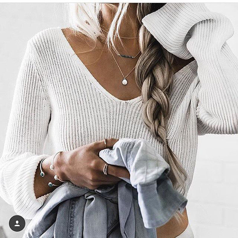Sexy White Long Sleeve Crop Top Sweater - Oh Yours Fashion - 9
