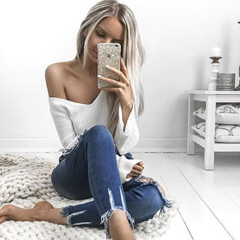 Sexy White Long Sleeve Crop Top Sweater - Oh Yours Fashion - 8