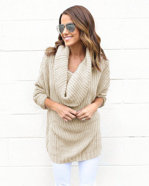 Turtle Neck Knitting Long Sleeves Loose Sweater - Oh Yours Fashion - 3