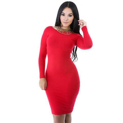 Fashion Sexy Long Sleeve Cotton Bodycon Short Dress