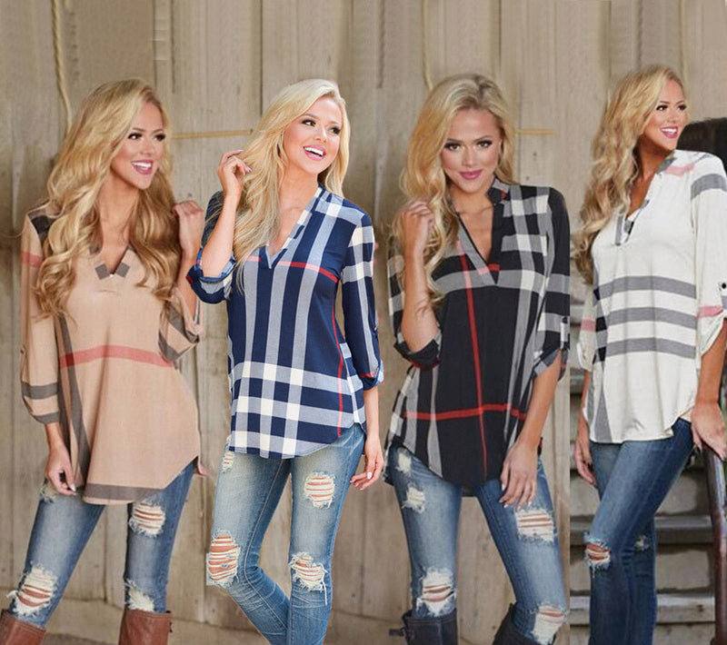 V-neck Plaid Print 3/4 Sleeves Loose Blouse - Oh Yours Fashion - 2