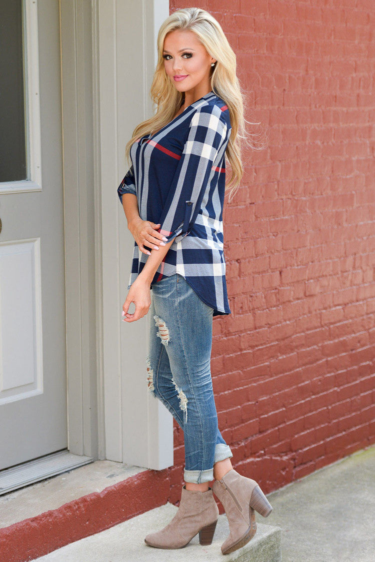 V-neck Plaid Print 3/4 Sleeves Loose Blouse - Oh Yours Fashion - 7