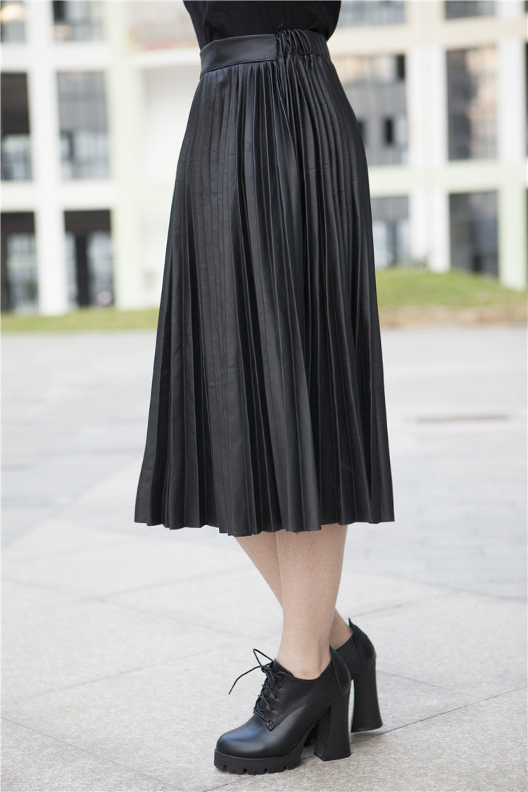 Retro PU High Waist Pleated Knee-Length Skirt - Oh Yours Fashion - 6