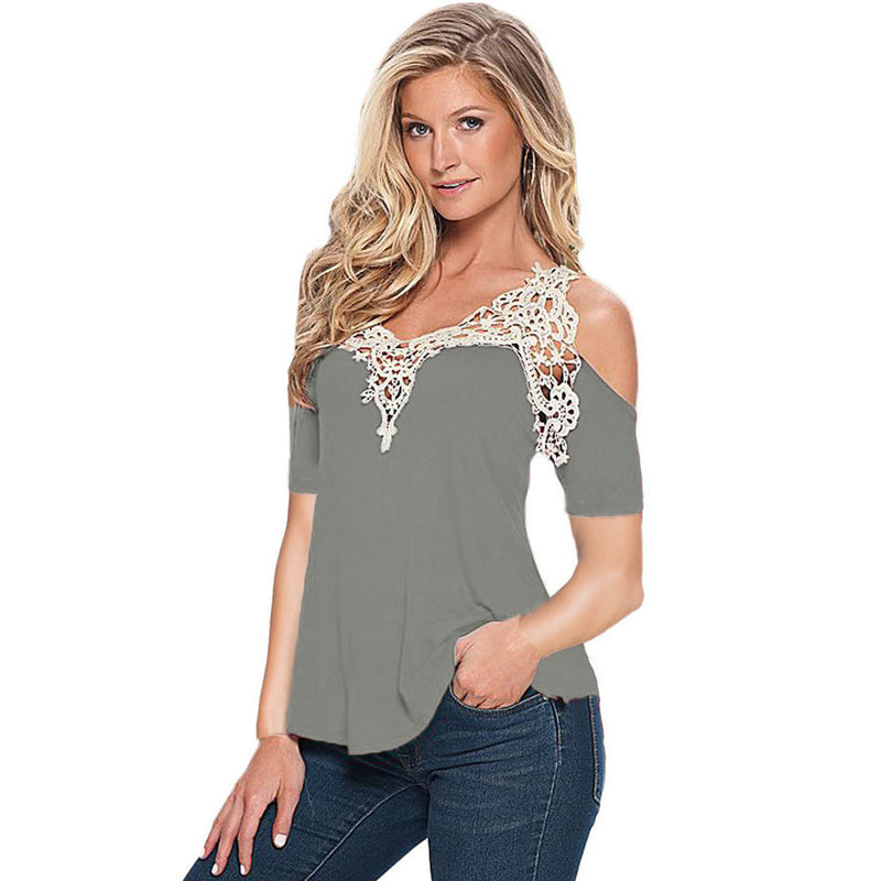 Dew Shoulder Stitching Embroidery Lace T-shirt - Oh Yours Fashion - 5