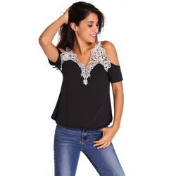Dew Shoulder Stitching Embroidery Lace T-shirt - Oh Yours Fashion - 2