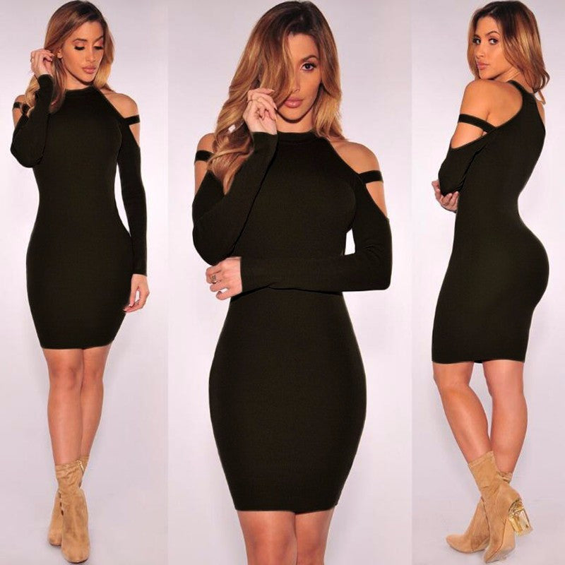 Sexy Bare Shoulder Bandage Scoop Short Bodycon Dress - Oh Yours Fashion - 6