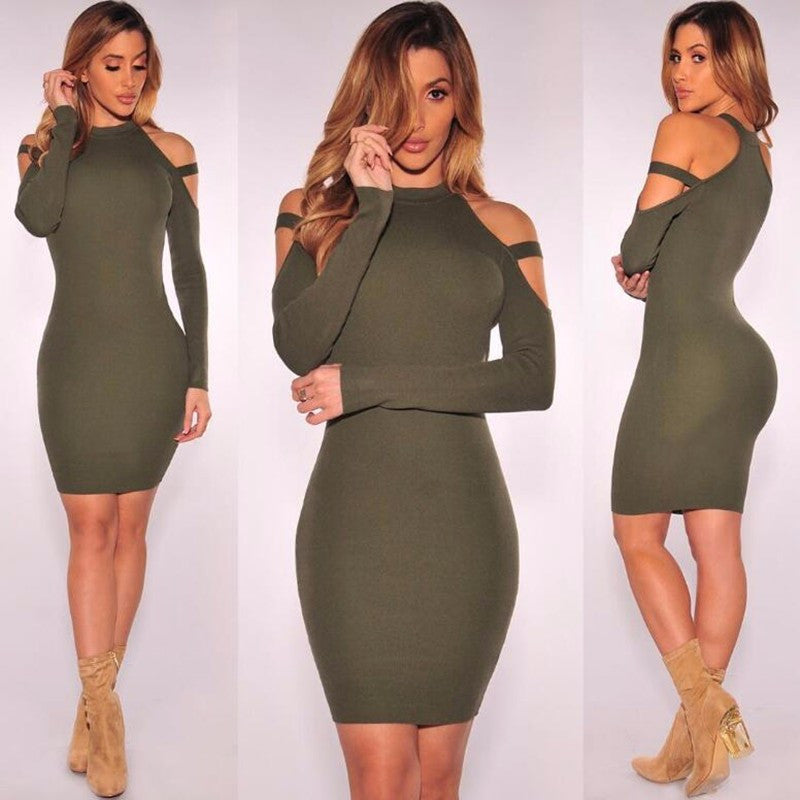 Sexy Bare Shoulder Bandage Scoop Short Bodycon Dress - Oh Yours Fashion - 1