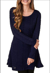Knitting Round Neck Long Sleeve Sweater Dress - Oh Yours Fashion - 8