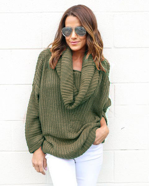Turtle Neck Knitting Long Sleeves Loose Sweater - Oh Yours Fashion - 6