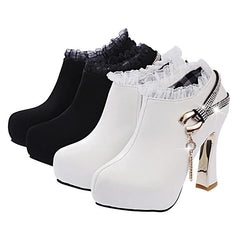 High Chunky Heel Lace Side Zippers Boots - Oh Yours Fashion - 4