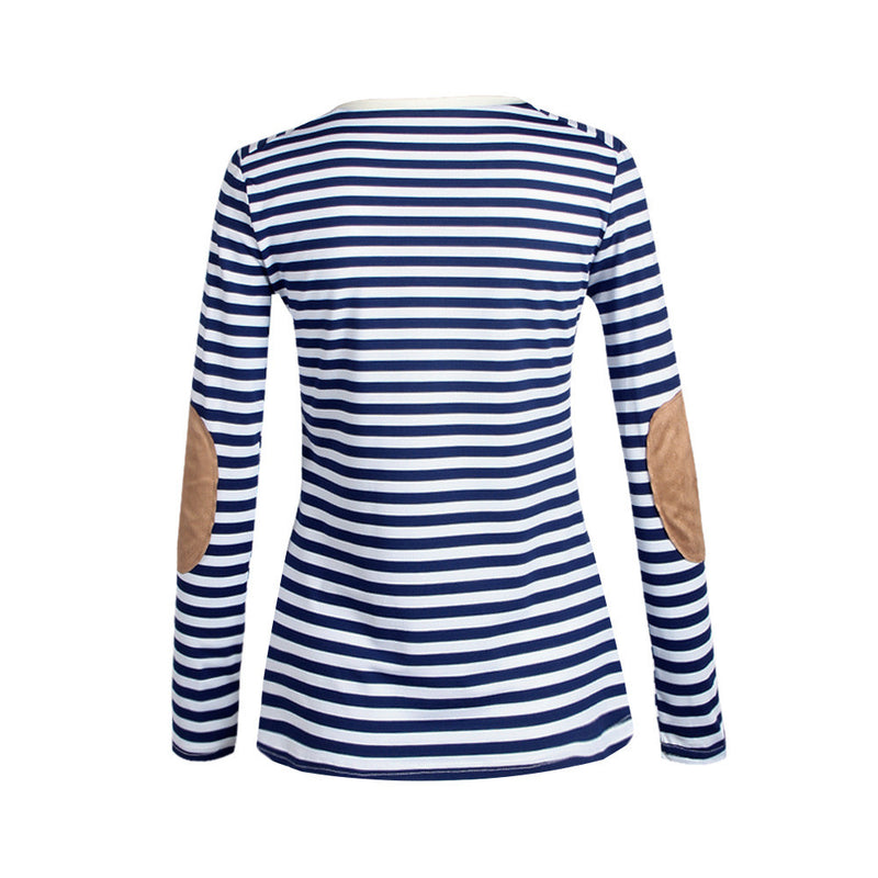 Fashion Long Sleeve Scoop Patchwork Stripe Blouse - Oh Yours Fashion - 6