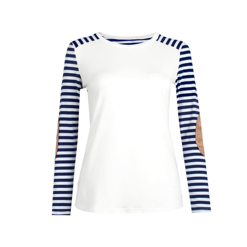 Fashion Long Sleeve Scoop Patchwork Stripe Blouse - Oh Yours Fashion - 5