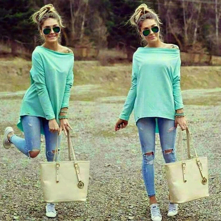 Sexy Scoop Long Sleeve Irregular Hemline Pure Color Blouse - Oh Yours Fashion - 1