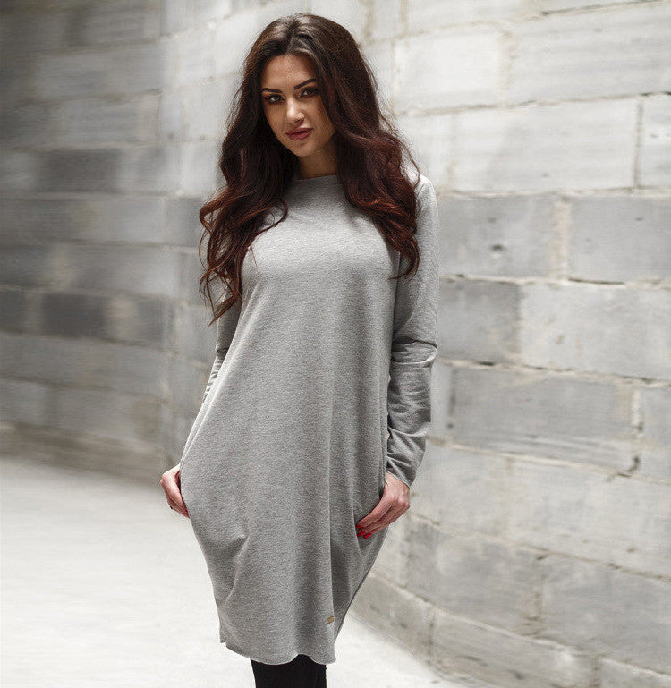 Fashion Loose Hidden Poctkets Long Sleeve Short Dress - Oh Yours Fashion - 7